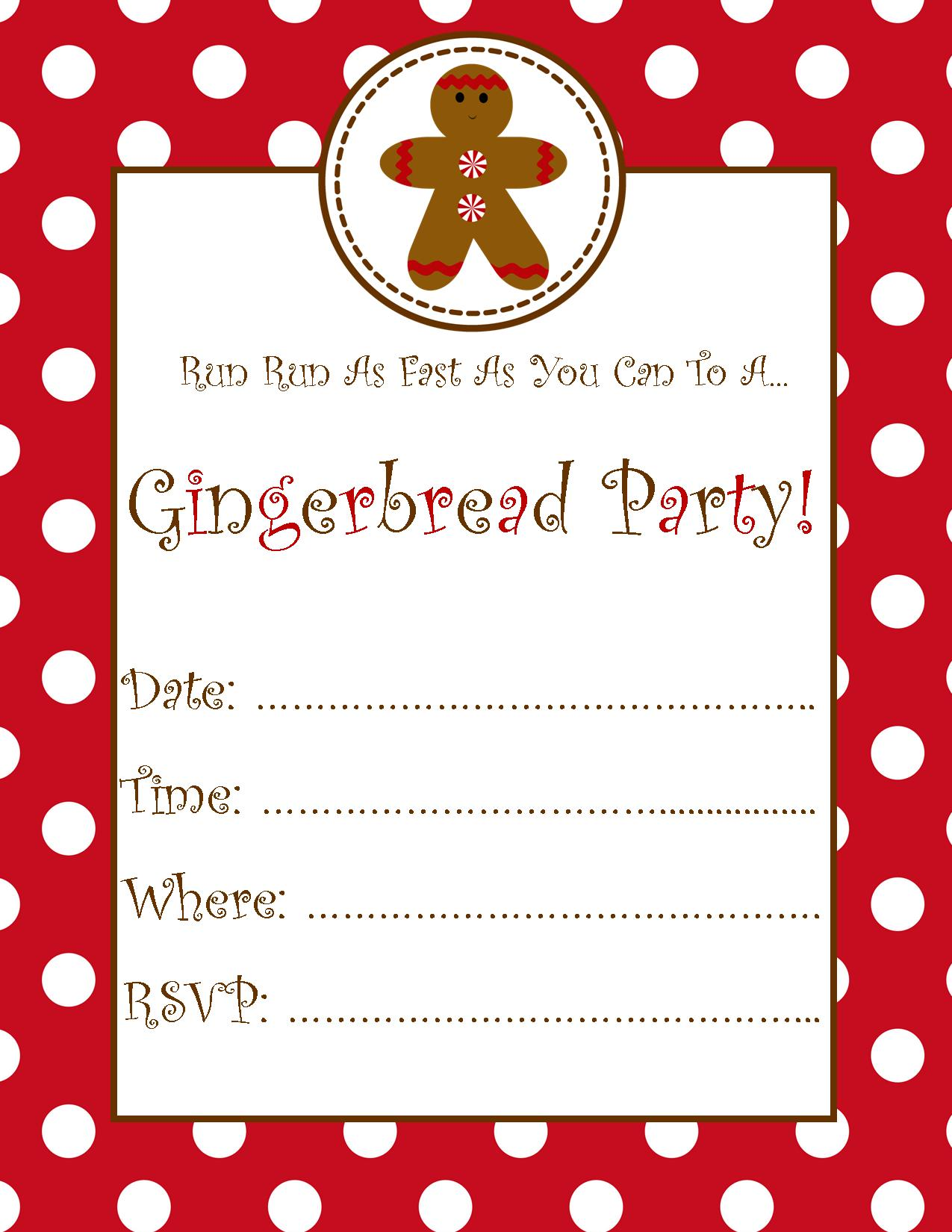 gingerb party invitation