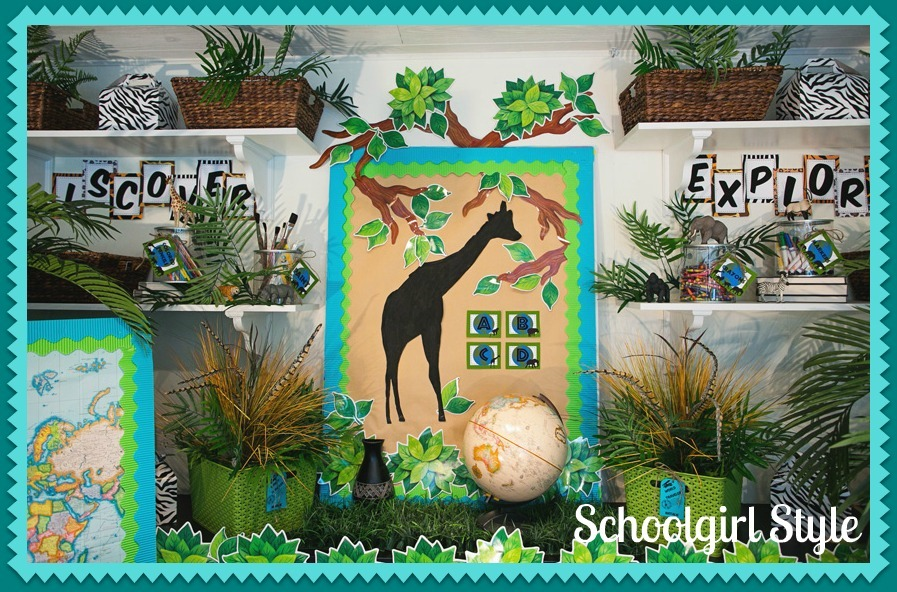 Classroom Decorating Ideas With Zebra Print ~ I made a large giraffe silhouette as the focal point of