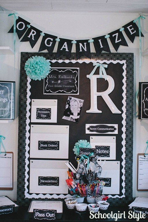 Classroom organization on pinterest schoolgirl style for Bulletin board organization