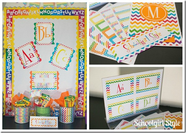 Rainbow chevron labels from Schoolgirl Style school decor