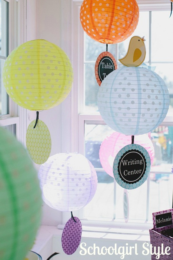 Schoolgirl_Style_Polka_Dots Lanterns Classroom Center Signs