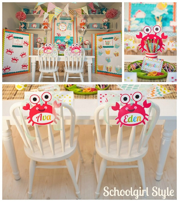 Ocean Beach Crab Classroom Decor and Organization by Schoolgirl Style