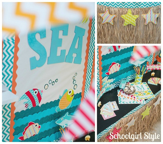 Ocean Beach Sea Fish Starfish Classroom Theme by Schoolgirl Style