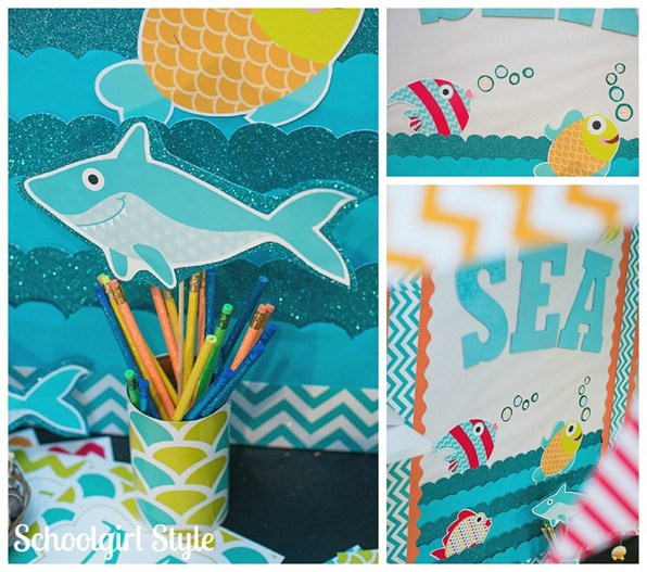 Ocean Shark Fish Sea Creatures Classroom decorations by Schoolgirl Style