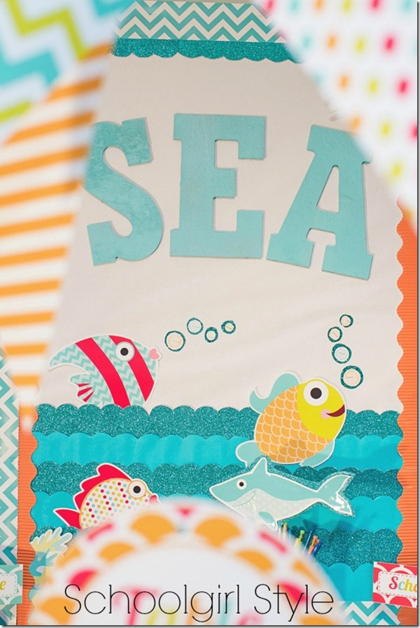 ocean  beach themed bulletin board by Schoolgirl Style