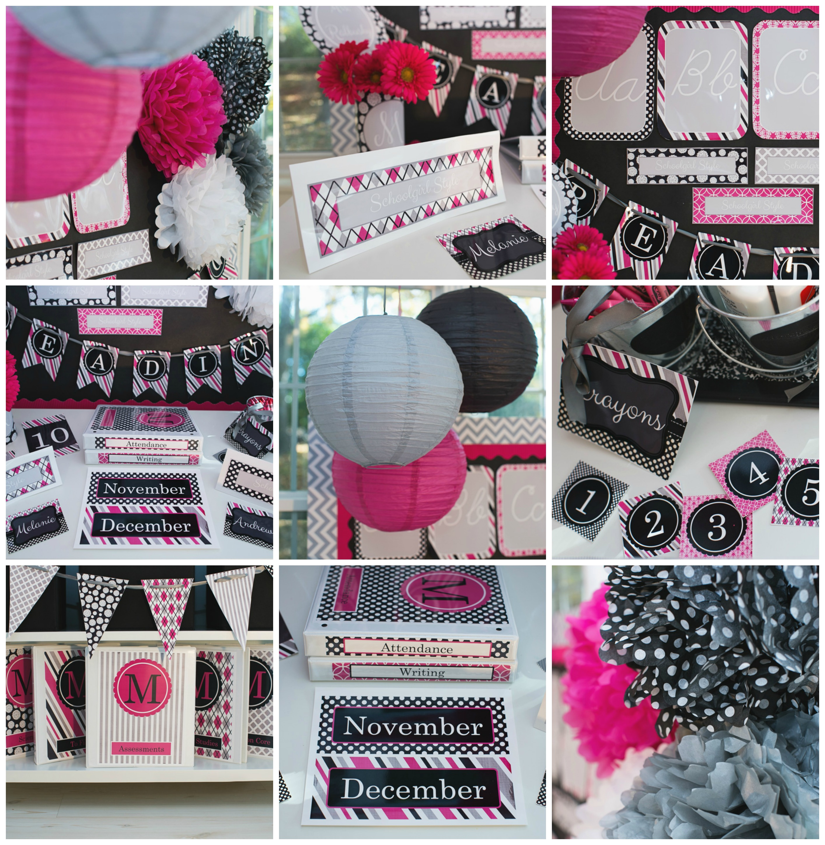 Hot Pink Black Gray Classroom Theme and Decor by Schoolgirl Style