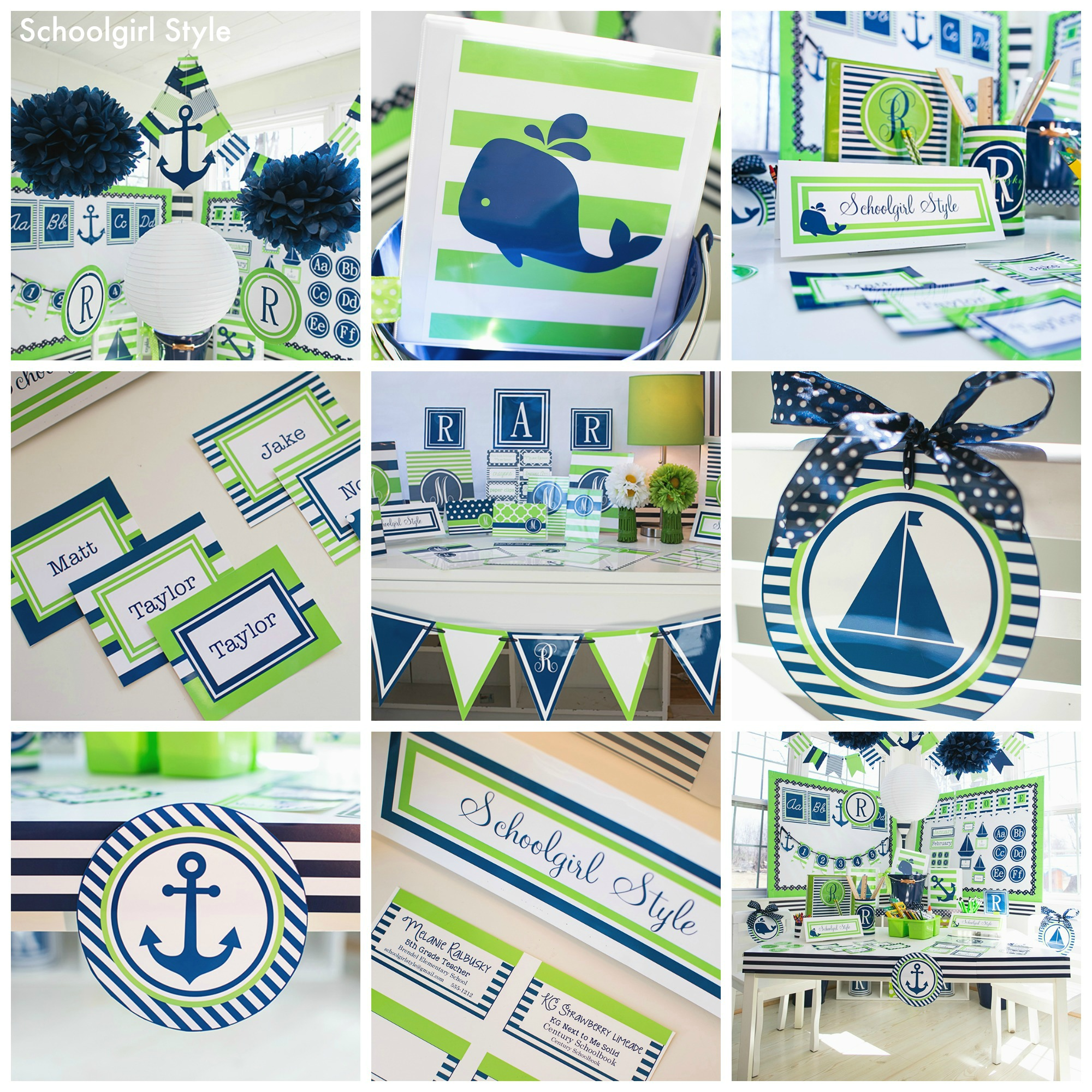Preppy Nautical Monogram Classroom Theme by Schoolgirl Style