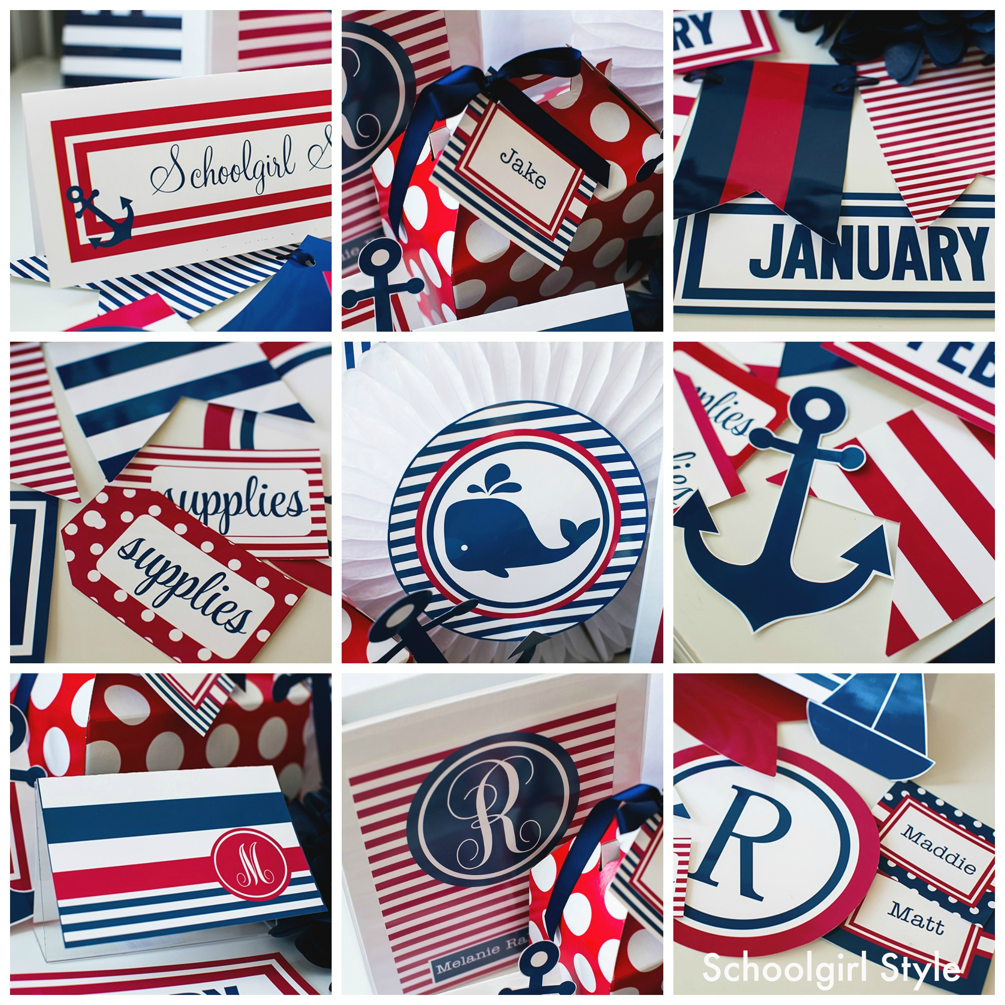 red white blue preppy nautical sailing americana classroom theme decor by Schoolgirl Style