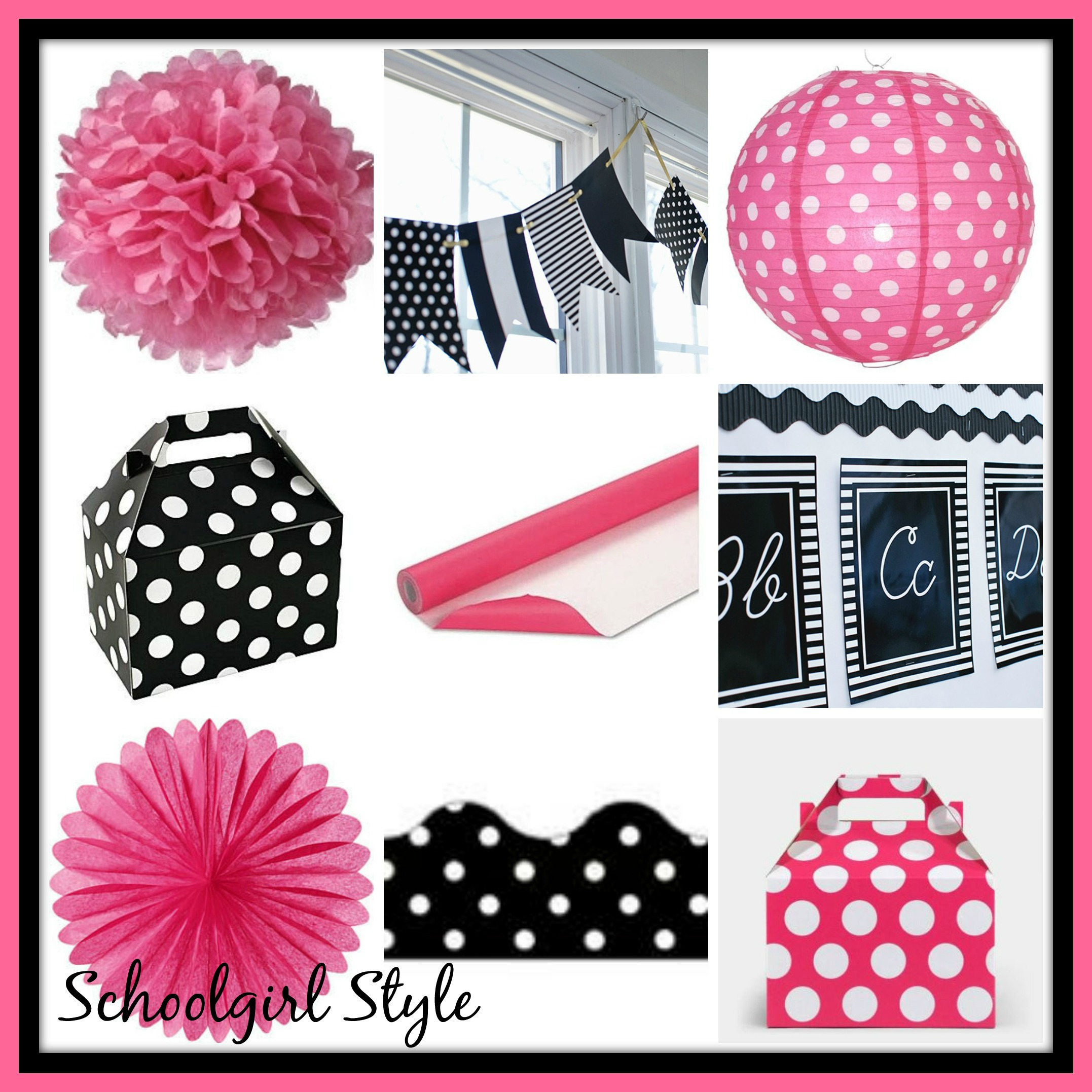 hot pink black classroom decor theme by Schoolgirl Style