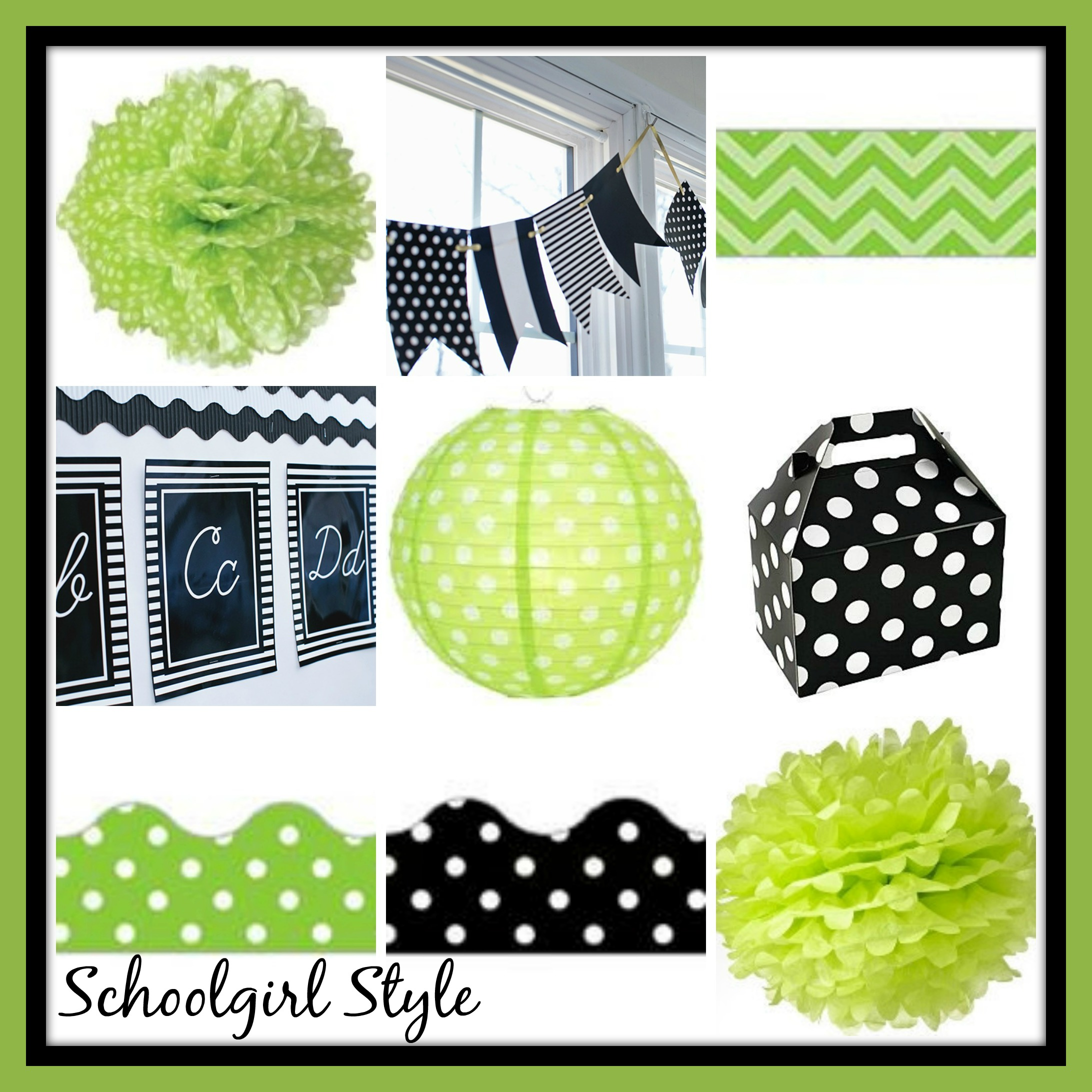 lime green black classroom theme decor by Schoolgirl Style