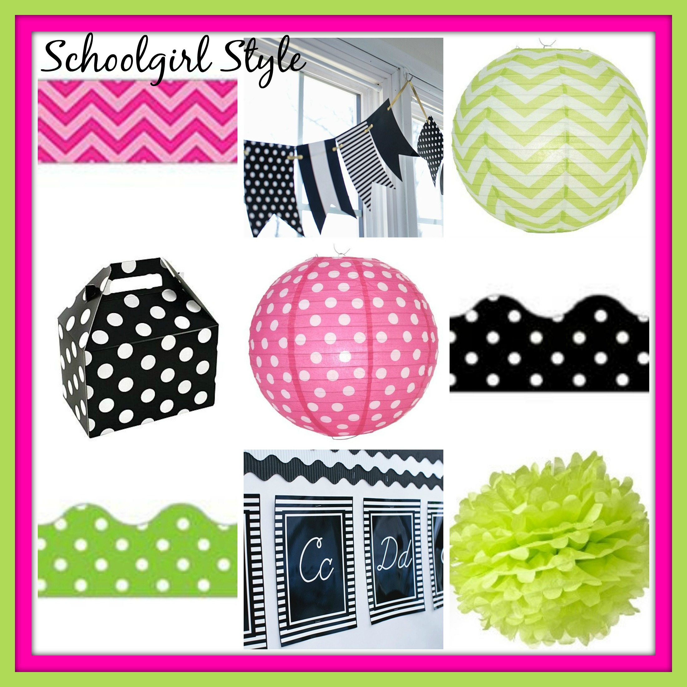 lime green hot pink classroom decor themes by Schoolgirl Style