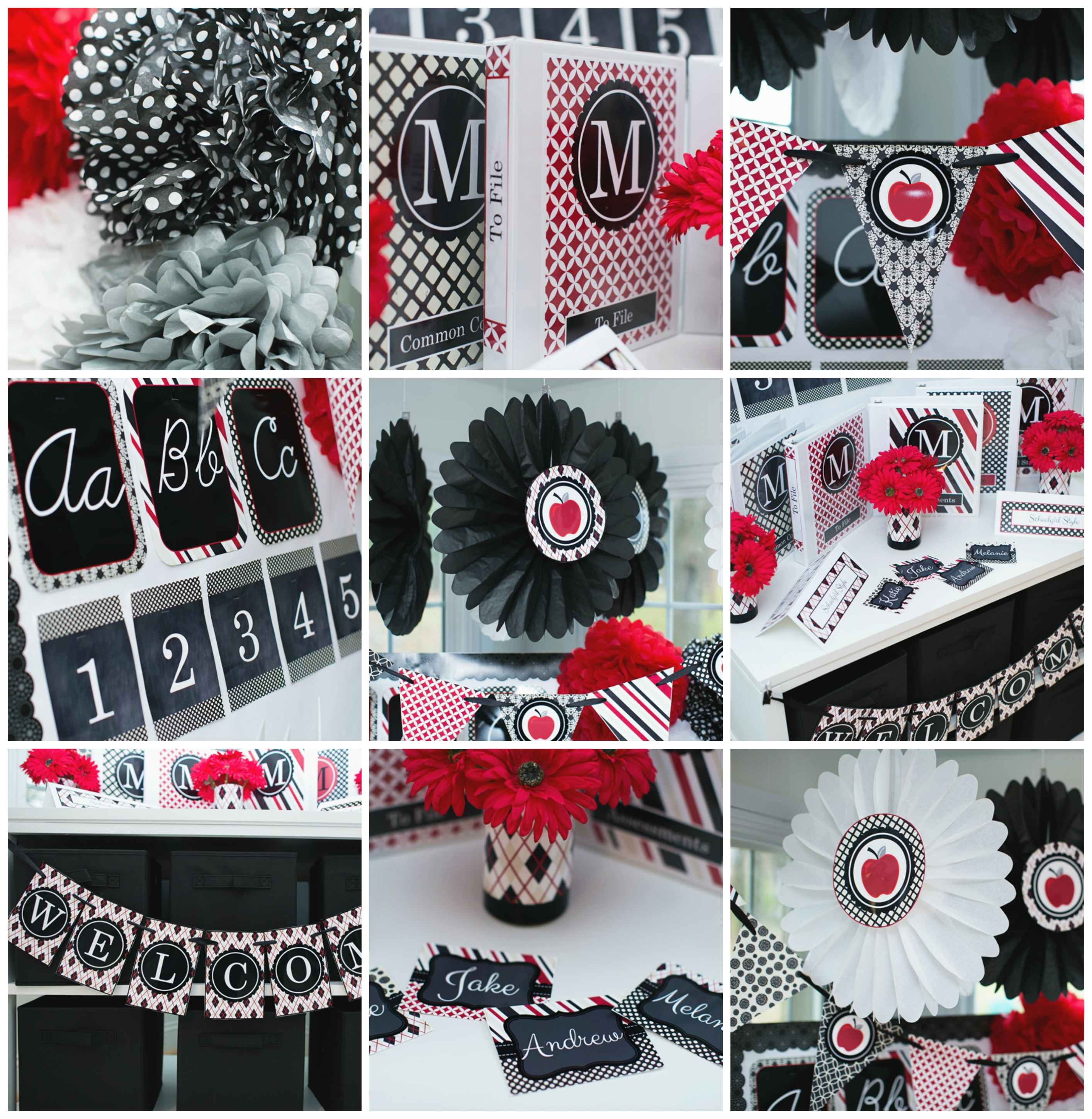 red black apple classroom theme and decor by Schoolgirl Style