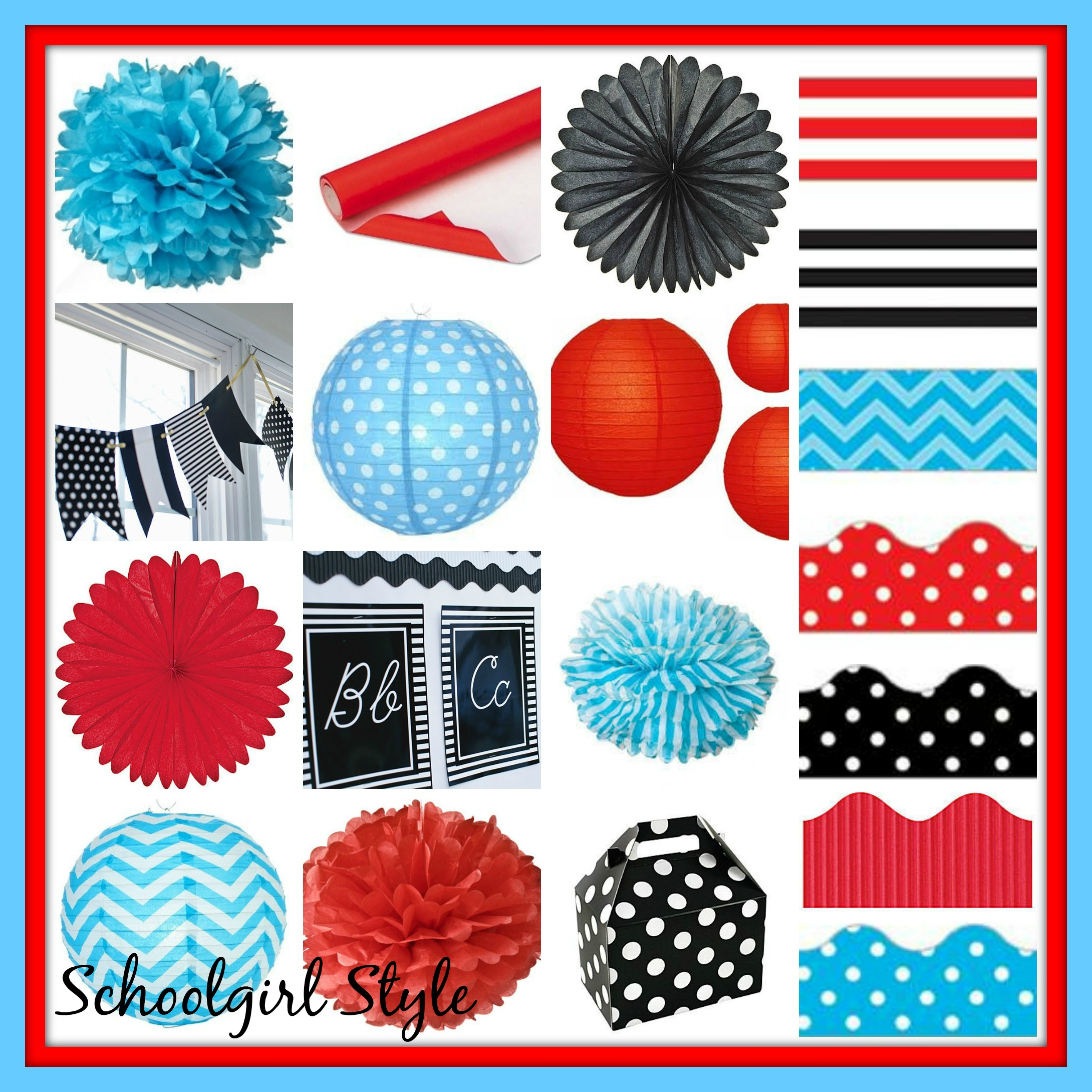 red turquoise classroom theme decor by Schoolgirl Style