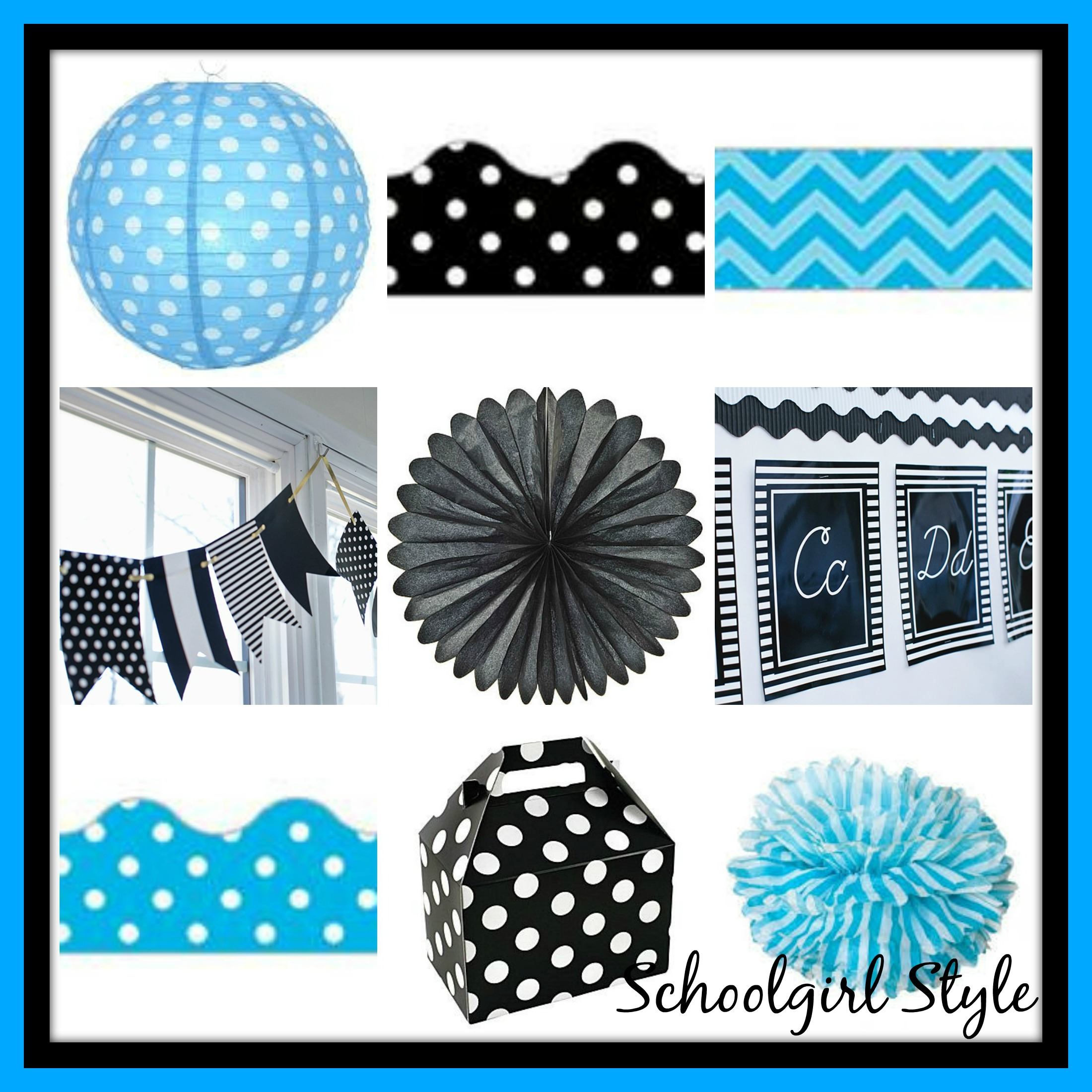 turquoise blue classroom theme decor by Schoolgirl Style