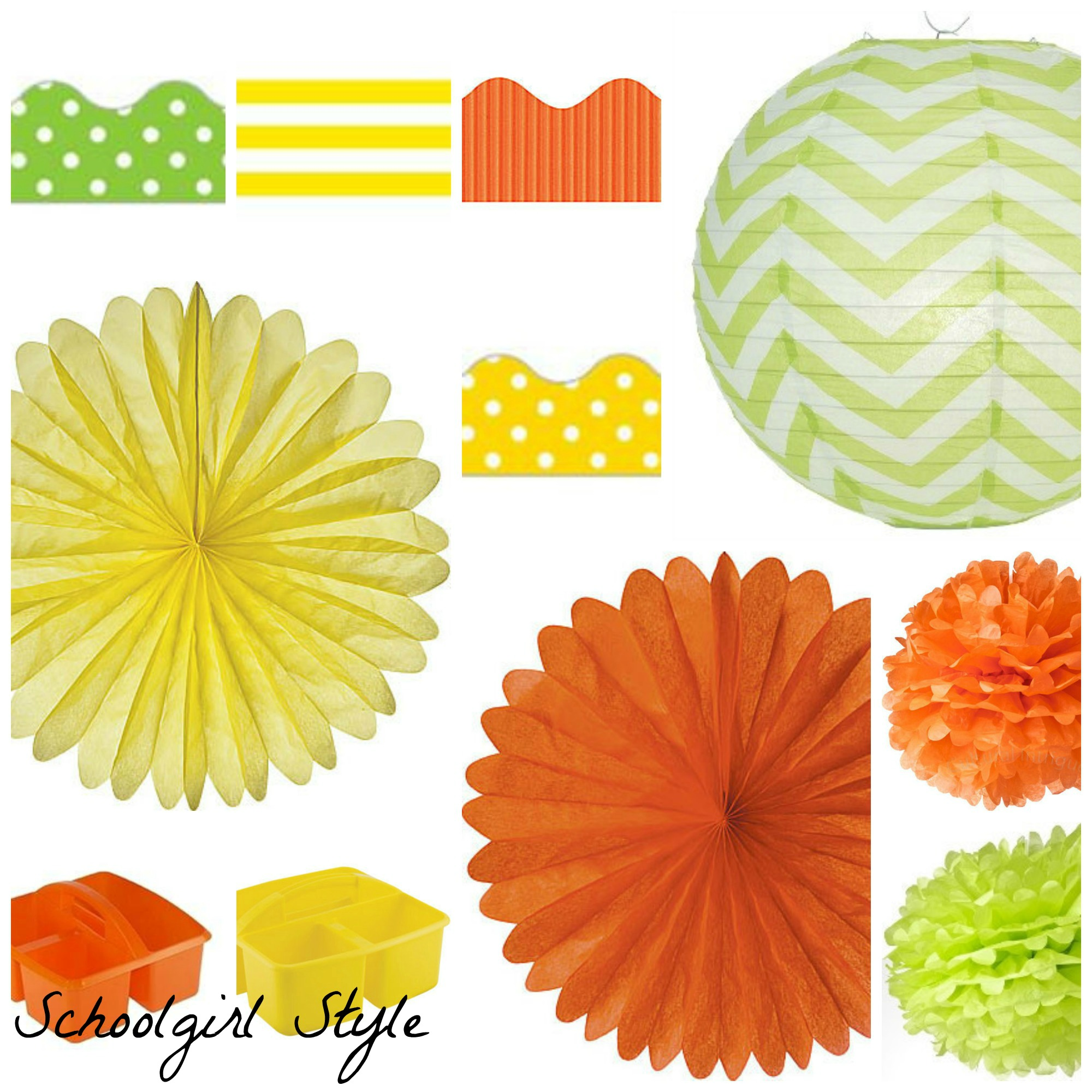 orange lime green yellow polka dot classroom decor by Schoolgirl Style