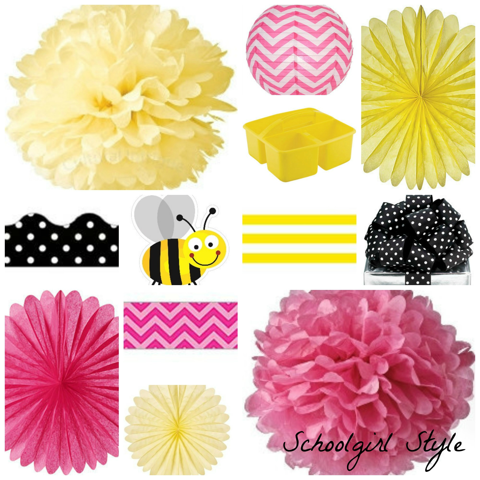 pink yellow black polka dot party inspiration by schoolgirl style