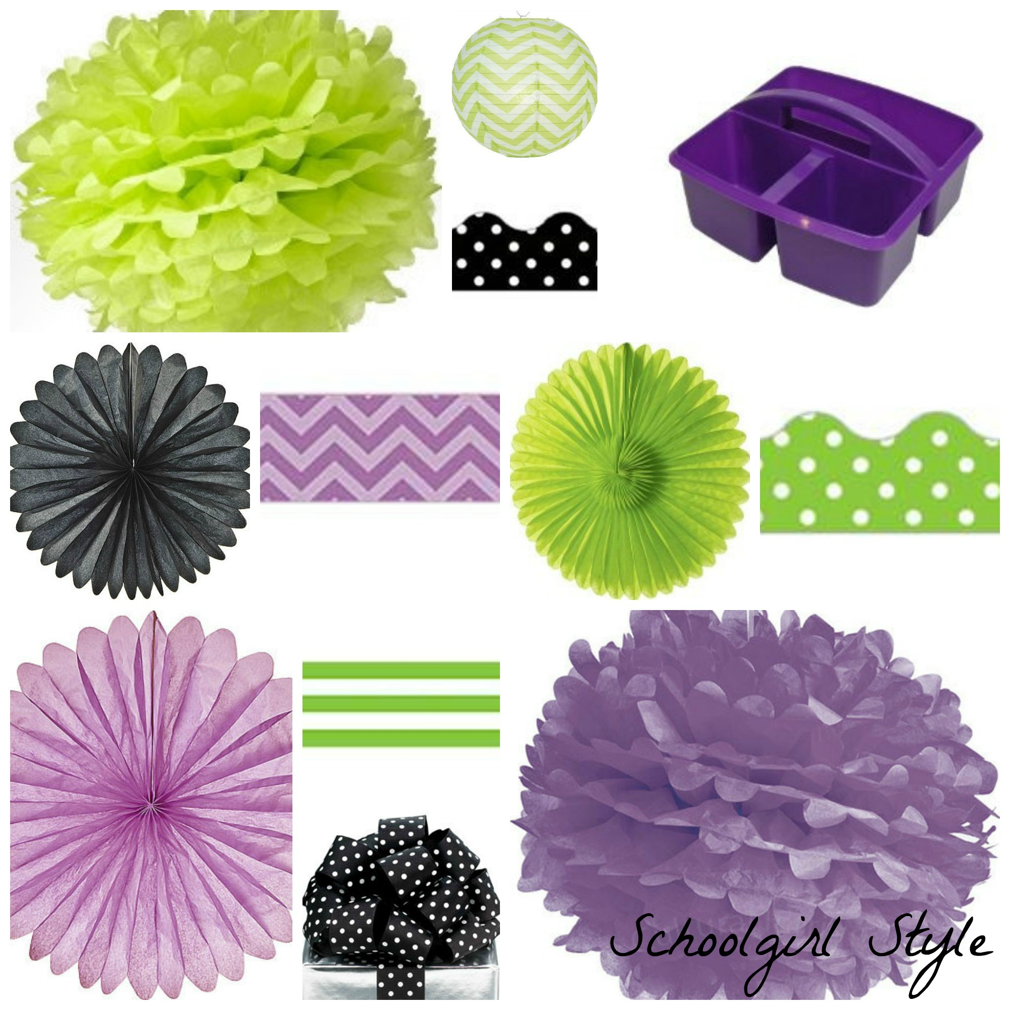 purple chalkboard lime green black polka dot party by Schoolgirl Style