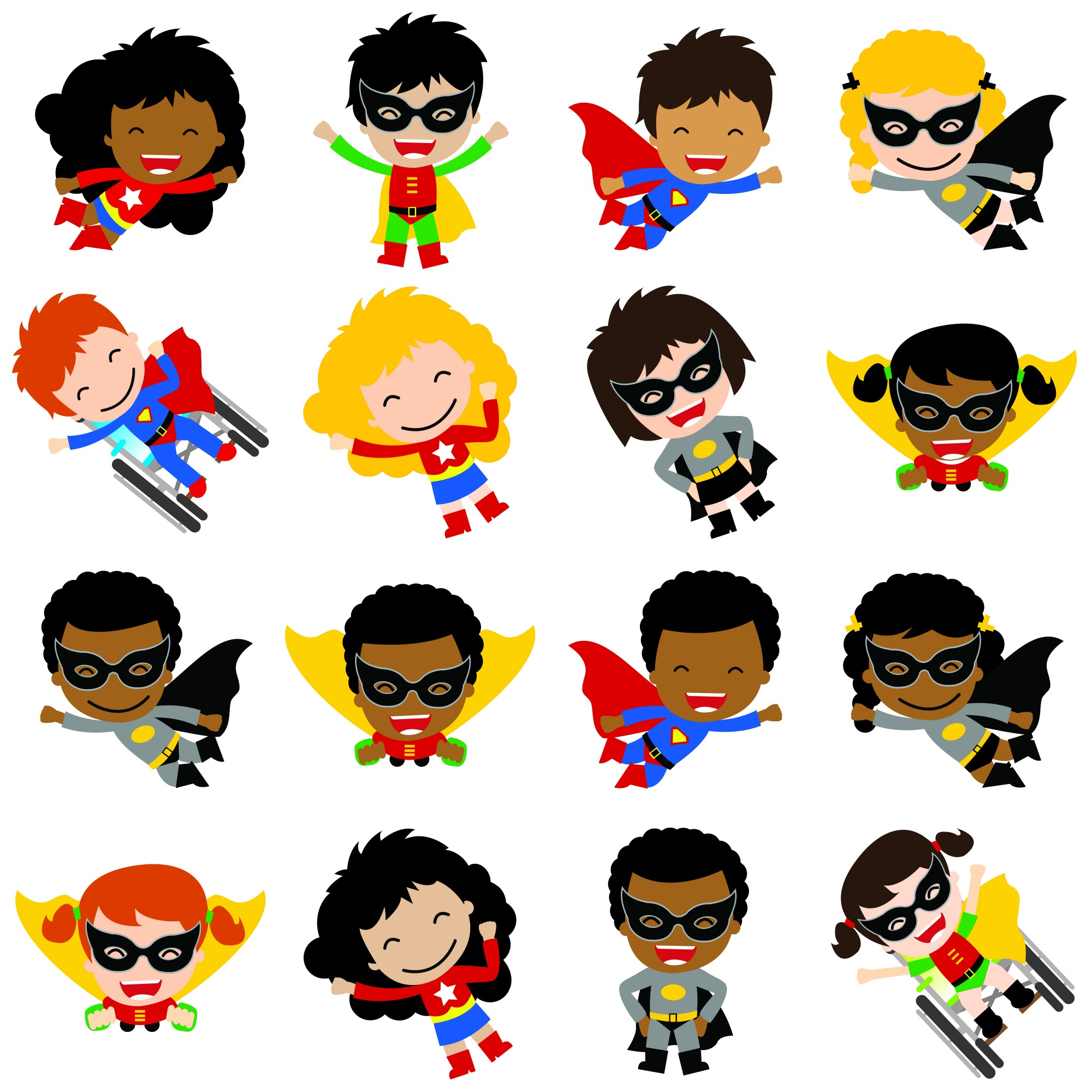 Multicultural Superhero Cutouts
