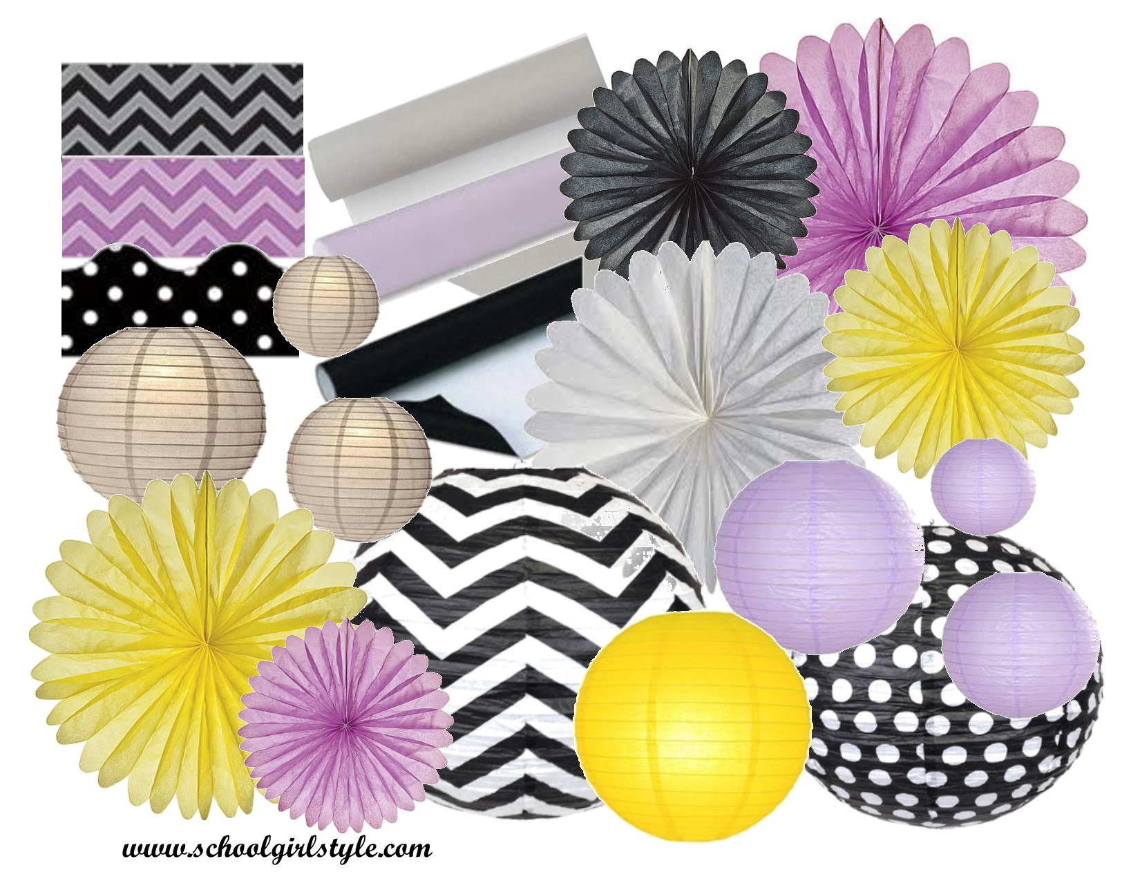 gray yellow black lavender classroom inspiration board by Schoolgirl Style