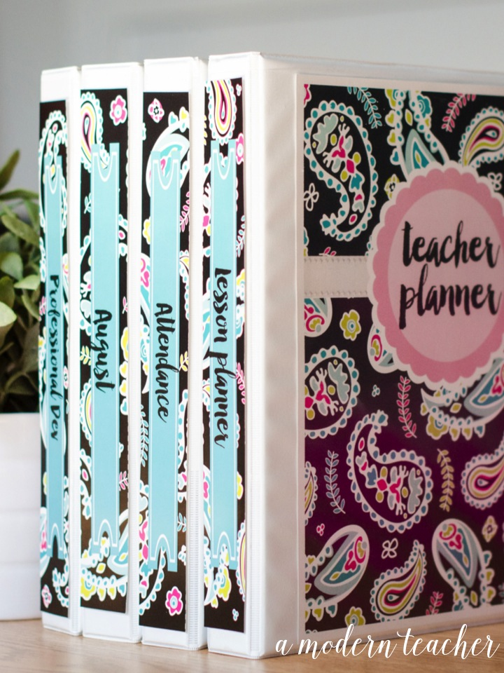 A Modern Teacher Pink Paisley Binders