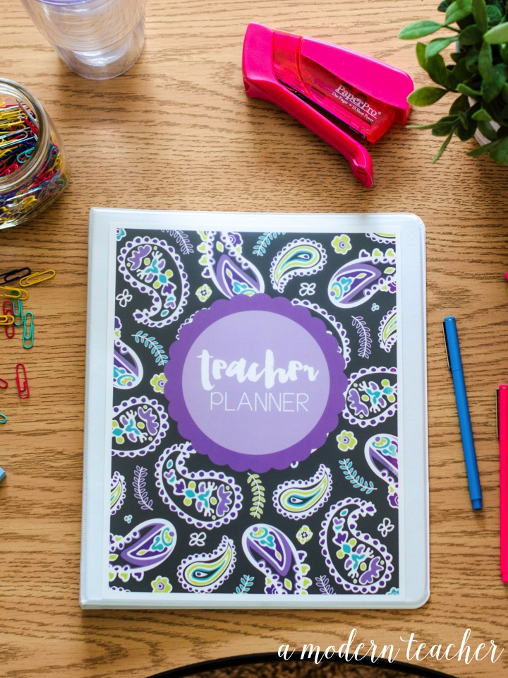 A Modern Teacher Purple Paisley Planner