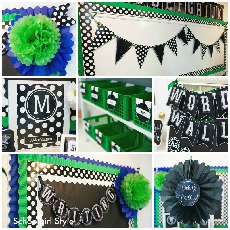 Chalkboard and polka dots schoolgirlstyle for Black and white polka dot decorations