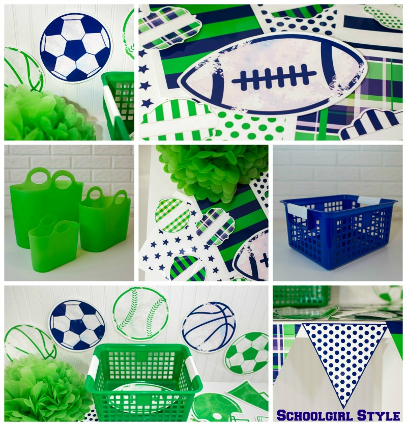 Varsity Prep classroom decor by Schoolgirl Style navy and green 1