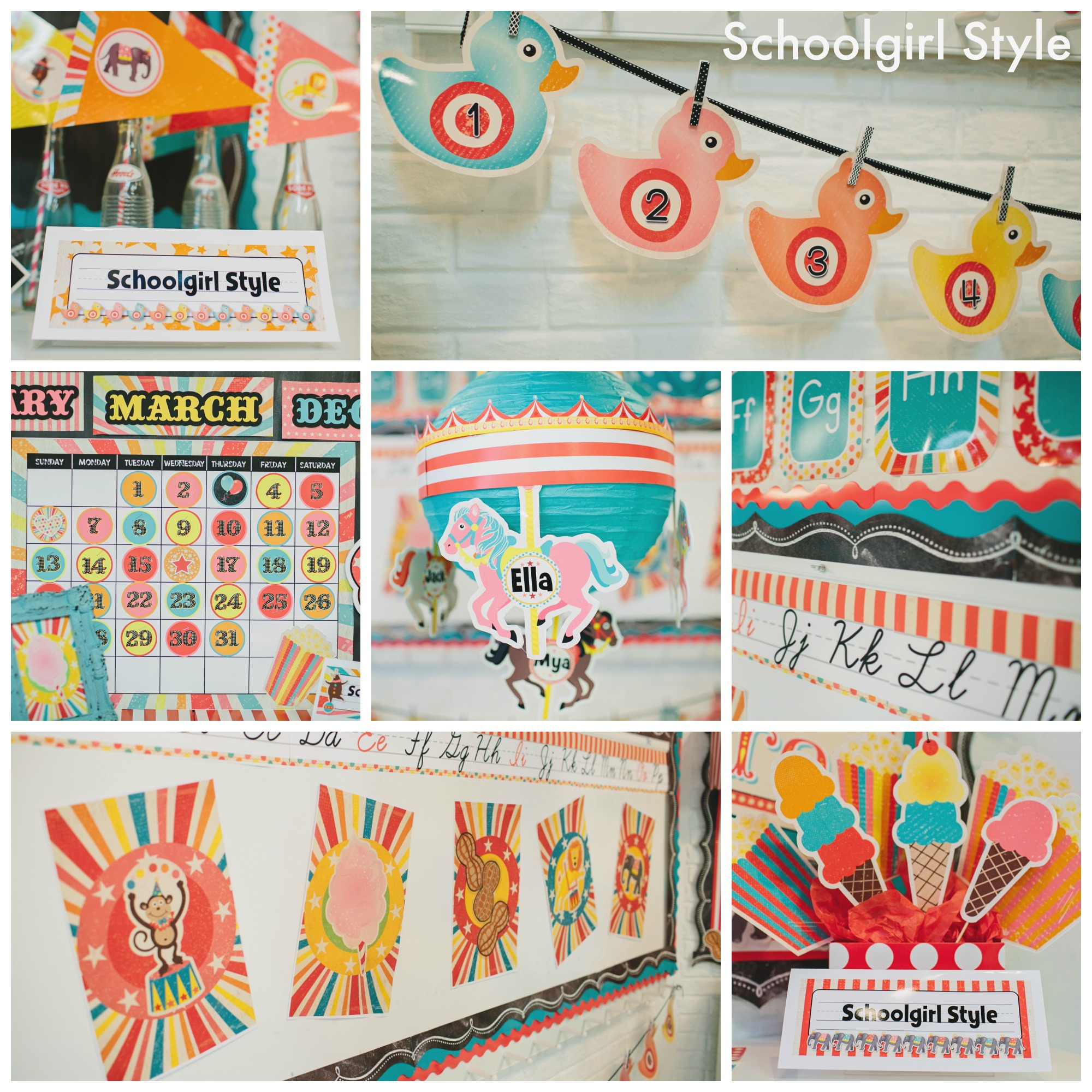 Vintage circus classroom decor collection schoolgirlstyle for Art classroom decoration ideas
